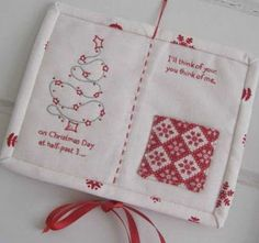 """Sweet sentiment by Jenny of Elefantz. """"On Christmas Day at half-past 3...I'll think of you, you think of me."""" For faraway loved ones. Quilt Block Patterns, Pattern Blocks, Quilt Blocks, Christmas Makes, Beautiful Christmas, Back Stitch, Running Stitch, Christian Wife, Hand Sewing"""