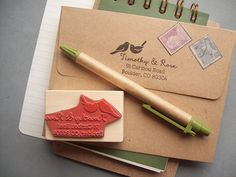 Custom Return Address Stamp with Love Birds DIY by stampcouture