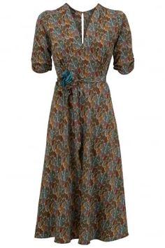 Mae dress in winter plume print