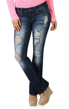 Deb Shops YMI Figure Enhancing Dark Wash Destructed Bootcut Jean $24.99 Deb Shops, Skin Tight, Virtual Closet, Scarves, Tights, Dress Up, Outfit Ideas, Skinny Jeans, Passion