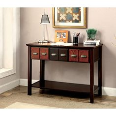 Furniture of America Marcella Transitional Two-Tone 3-drawer Console Table