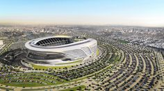 The new design of the San Diego Chargers and Oakland Raiders stadium in Los Angeles has been unveiled last Monday. San Diego Chargers, Oakland Raiders, Futuristic Architecture, Architecture Design, Stadium Architecture, Soccer Stadium, Basketball, La Rams, Football Stadiums