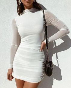 just quella Women's Bodycon Dress White Long Sleeve Sexy Mesh Pencil Evening Party Dresses Mode Outfits, Trendy Outfits, Fashion Outfits, Womens Fashion, Fashion Tips, Fashion Clothes, Fashion Ideas, Summer Outfits, Formal Outfits