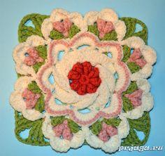 Вязаный цветок - мотив