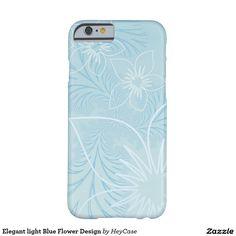 Elegant light Blue Flower Design Barely There iPhone 6 Case