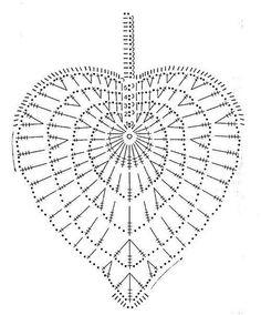 Ideas Crochet Heart Diagram Link For 2019 Appliques Au Crochet, Crochet Leaf Patterns, Crochet Leaves, Crochet Diagram, Crochet Chart, Crochet Squares, Crochet Designs, Crochet Flowers, Crochet Diy