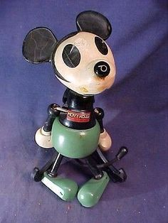 "1930s MICKEY MOUSE Jointed WOOD + COMPOSITION 9 1/2"" Figural TOY by FUN-E-FLEX in Toys & Hobbies, Vintage & Antique Toys, Character 
