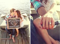 Love the chalkboard announcing their wedding date and of course the gorgeous wedding ring!!.. annnnd the fact that these engagement photos were taken in a little row boat on a lake!!!!