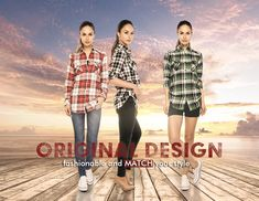 Match Women's Long Sleeve Button Down Collar Flannel Shirt #B003(Large, Checks#7) at Amazon Women's Clothing store: