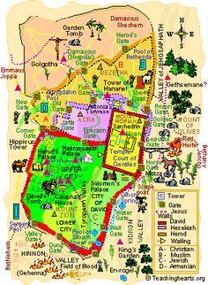 Map of modern day Jerusalem | Maps: Landmarks in 2019 ...