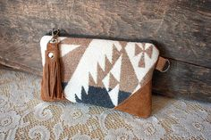 Oregon Wool clutch pouch with leather trim Steel by cindymars7, $31.00