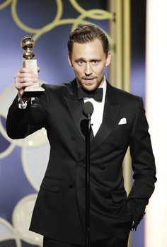 vikander: Tom Hiddleston accepts the award for Best Performance by an Actor in a Limited Series or a Motion Picture made for Television for The Night Manager during the 74th Annual Golden Globe Awards at The Beverly Hilton Hotel on January 8 2017 in Beverly Hills California.