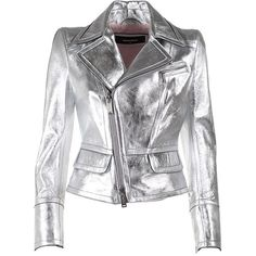 dsquared2 Metallic-Leather Jacket ($950) ❤ liked on Polyvore featuring outerwear, jackets, metallic jacket, dsquared2, leather jackets, zip jacket and real leather jackets