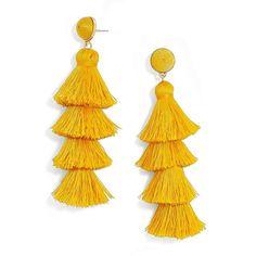 Women's Baublebar Gabriela Tassel Fringe Earrings ($48) ❤ liked on Polyvore featuring jewelry, earrings, medium yellow, yellow earrings, tassle earrings, baublebar, statement earrings and tassel earrings