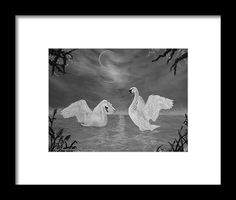 Swans Framed Print featuring the drawing Nocturnal Dance by Faye Anastasopoulou Swans, Hanging Wire, Framed Art Prints, Office Decor, Fine Art America, Dance, Wall Art, Drawings, Painting
