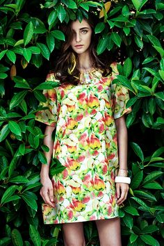 2014 Fashion Fruit Printed Loose Short Sleeves A-line Women Dress