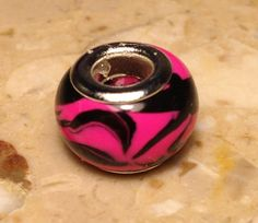 Polymer Clay European Style Compatible Bead Charm - Hot Pink and Black Zebra Stripe - 1212