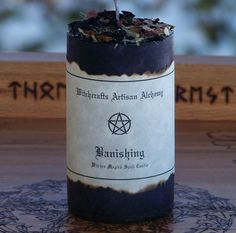 BANISHING Witches Magick Pillar Spell Candle w/ Black Candle Tobacco & More for Banishing, Deflecting Baneful Energies, Protection, Clearing Sacred Space by ArtisanWitchcrafts, $9.95