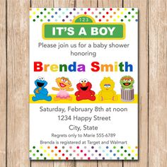 Mini Muppets Baby Shower Invitation | Boy Or Girl, Neutral, Sesame Street,  Elmo