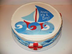 baby shower natical cakes   Pin Nautical Baby Shower Cake Sail Boat Boy cake picture to pinterest.
