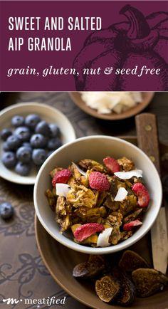 Finally, an AIP granola that hits the spot! This is chewy, crunchy, crispy and clustery, but made with grocery store ingredients & minimally sweetened | http://meatified.com