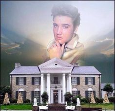 ♥ A heavenly looking Elvis keeps watch on Graceland via photoshop, Tippy