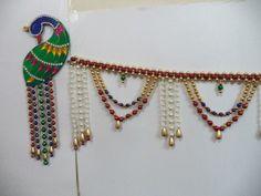 Peacock design Pearl Bandhanwar Hobbies And Crafts, Crafts To Make, Fun Crafts, Arts And Crafts, Diwali Decorations, Handmade Decorations, Rakhi Design, Paper Quilling Tutorial, Diwali Craft