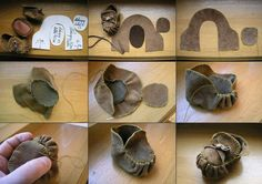 DIY suede baby moccasins, from Different Solutions on Facebook
