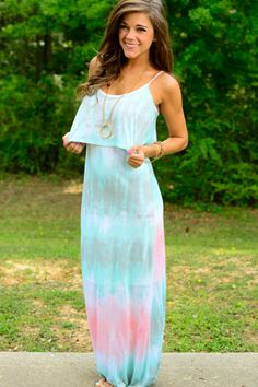"We love love LOVE this faded tie-dye maxi! The material is sooo soft and the straps are adjustable so this maxi fits like a glove! The single tier top is super flattering, too! :) Features a built-in slip. Fits true to size. Miranda is wearing the small. S- 55"" M- 56"" L- 57"""