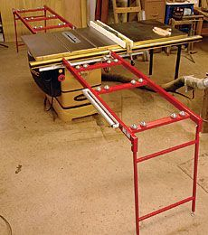 "Ezee-Feed Tablesaw Extensions: ""I work alone and my shop is small, so it's a chore to muscle a by sheet of plywood or MDF onto my tablesaw. Recently, I tried infeed and outfeed tables from Ezee-Feed Manufacturing. They made the task a lot easier. Popular Woodworking, Fine Woodworking, Woodworking Workbench, Woodworking Furniture, Woodworking Projects, Cardboard Furniture, Kid Furniture, Furniture Design, Tablesaw Outfeed Table"