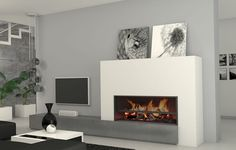 Risultati immagini per sala estar moderna llar de foc Home Fireplace, Fireplace Remodel, Modern Fireplace, Fireplace Design, Fireplaces, Living Room Grey, Living Room Decor, Love Home, Foyers
