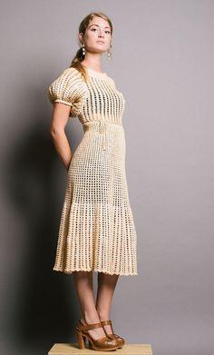 Amelia Cream Crochet 1940s Handmade Dress . XS / S