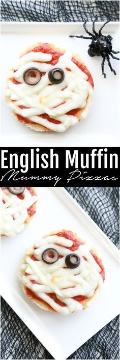 See how you can turn boring English muffins into these spooky English Muffin Mummy Pizzas for Halloween. via @simplymommy #Halloween #pizza