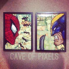 Spider-Man & Wolverine pixel bead art
