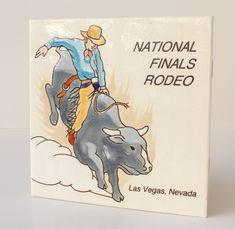 Vintage National Finals Rodeo Tile Coaster 1997 Las Vegas Souvenir