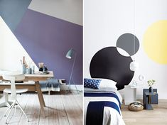Try A Geometric Paint Treatment On Your Walls | Polygons stretching from baseboard to ceiling in this home office have all the fun of a tangram puzzle, but in muted colours for a grown-up look (shown left). In this minimalist bedroom (right), intersecting circles fall in the sweet spot between statement-making and a snap to do. | Photographer: Tia Borgsmidt (left), Angus Fergusson (right) | Designer (left): Mette Helena Rasmussen | #HHplayfuldesign