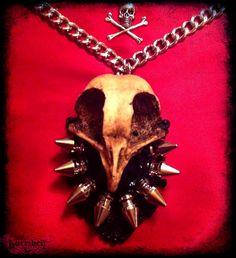 Spike Necklace with Owl Bird Skull - MAYHEM - steampunk, gothic, taxidermy, post apolcalyptic. $37.00, via Etsy.