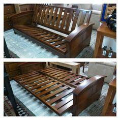 Sofacama futon en madera. Info: muebleriaelretiro@hotmail.com