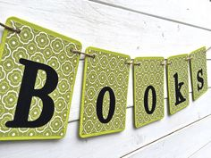 BOOKS Banner GREEN and black library banner by RedBirdBanners