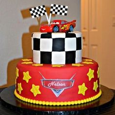 See more birthday parties for kids at www.on… Winning Disney Cars birthday cake. See more birthday parties for kids at www. Disney Cars Cake, Disney Cars Party, Disney Cars Birthday, Car Party, Disney Parties, Car Themed Parties, Cars Birthday Parties, Lightning Mcqueen Cake, Race Car Birthday
