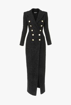 Balmain designer Jackets & Coats for women Chic Outfits, Pretty Outfits, Dress Outfits, Fashion Dresses, Mode Mantel, Langer Mantel, Frack, Tweed Coat, Coat Dress