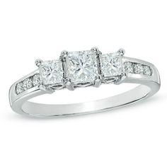1 CT. T.W. Princess-Cut Diamond Past Present Future® Ring in 14K White Gold