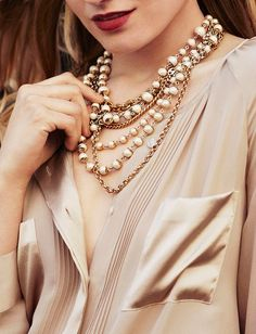 Silky pintuck detail shirt, champagne pearls and gold.