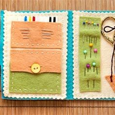 Sewing made simple. A diy travel sewing kit for non-sewers to sew. A fun kitty pattern makes it great for kids Felt Crafts, Fabric Crafts, Sewing Crafts, Sewing Projects, Fabric Art, Sewing Ideas, Needle Book, Needle Case, Cool Diy Projects