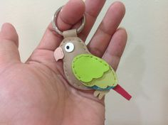 Leather Keychain June the Sun Conure Parrot by leatherprince, $21.90