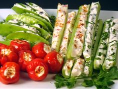 Stuffed Celery: cream cheese w/ roasted red peppers and parsley or black olive tapenade and paprika