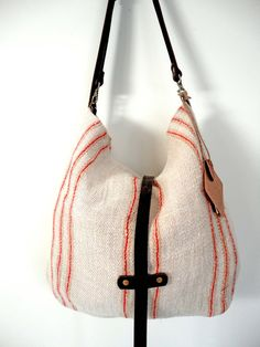 VINTAGE GRAIN SACK Large Hobo Bag with Brown by TnBCdesigns