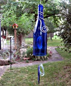 Blue Wine Bottle Wind Chime Recycled by GlassGaloreGal on Etsy