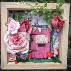 Fairy Frame, Fairy Garden Scene Box Frame, Fairy Door Frame, Fairy Wall Art Beautiful fairy door scene in a wooden box frame 6 x 6. Set against a sparkly butterfly and dandelion background, the Shh fairies sleeping, pink fairy door is decorated with bunting and toadstools, and is nestled