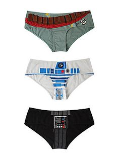 <p>Panty 3 pack from <i>Star Wars</i> with Boba Fett, R2-D2 and Darth Vader cosplay designs.</p>  <ul> 	<li>95% polyester; 5% spandex</li> 	<li>Wash cold; dry low</li> 	<li>Imported</li> </ul>